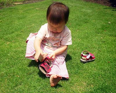 子どものコップ、歯ブラシ、タオルは、  子どもの手の届くところにいつもある。 くつは、はき口が大きく開き、足をいれやすいもの。