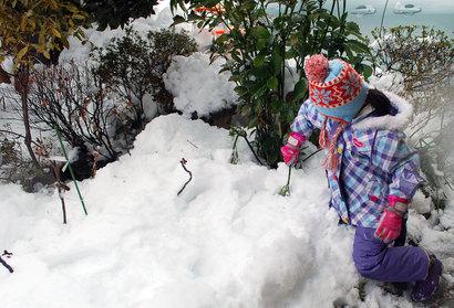 大雪と子ども