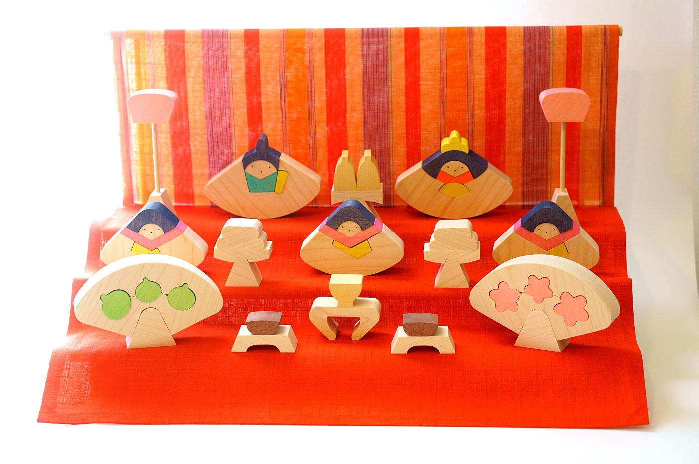 小黒三郎さんの組木の節句人形 円びな三段飾り