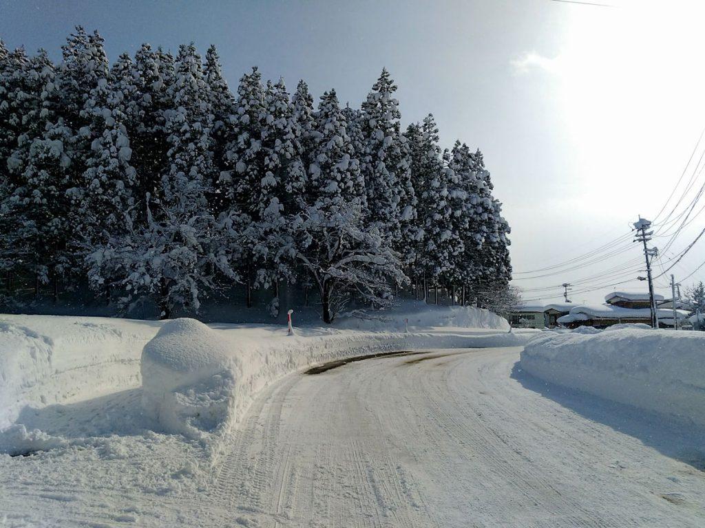 秋田の雪道